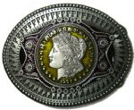 Oval Coin Belt Buckle + display stand. Code XH7